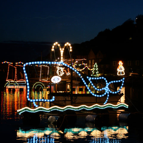 Christmas lights in Mousehole Harbour, West Cornwall