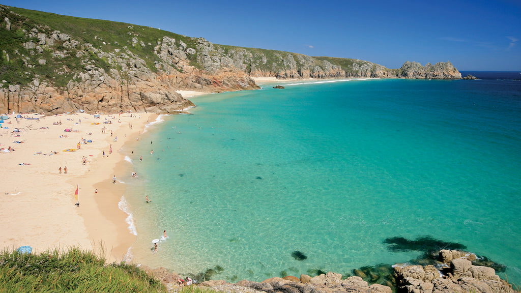 Porthcurno Beach and the Logan Rock, West Cornwall