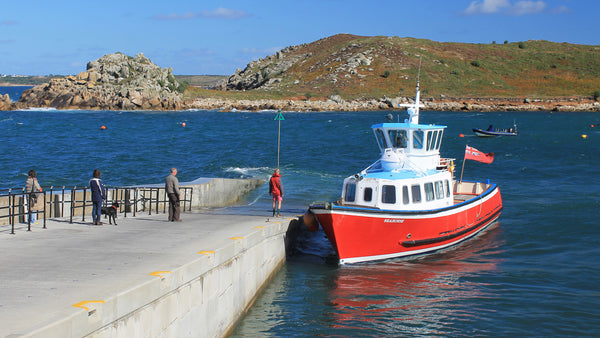 Seahorse ferry at Porthconger Quay, St Agnes, Isles of Scilly