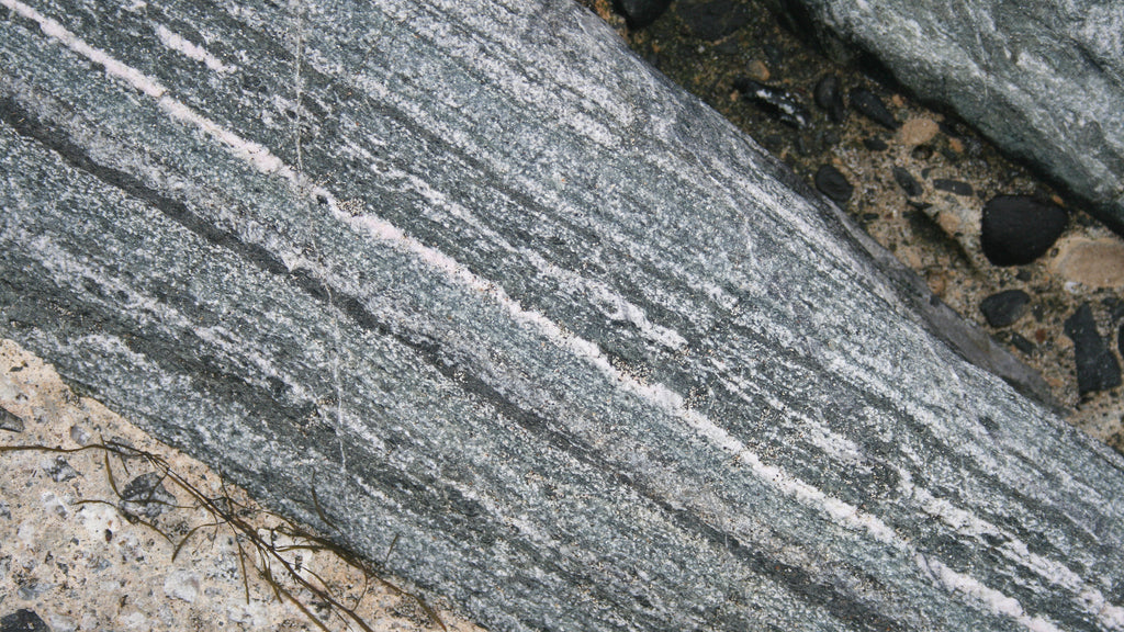 Layered Traboe schist, Mullion Cove, Lizard Peninsula, West Cornwall