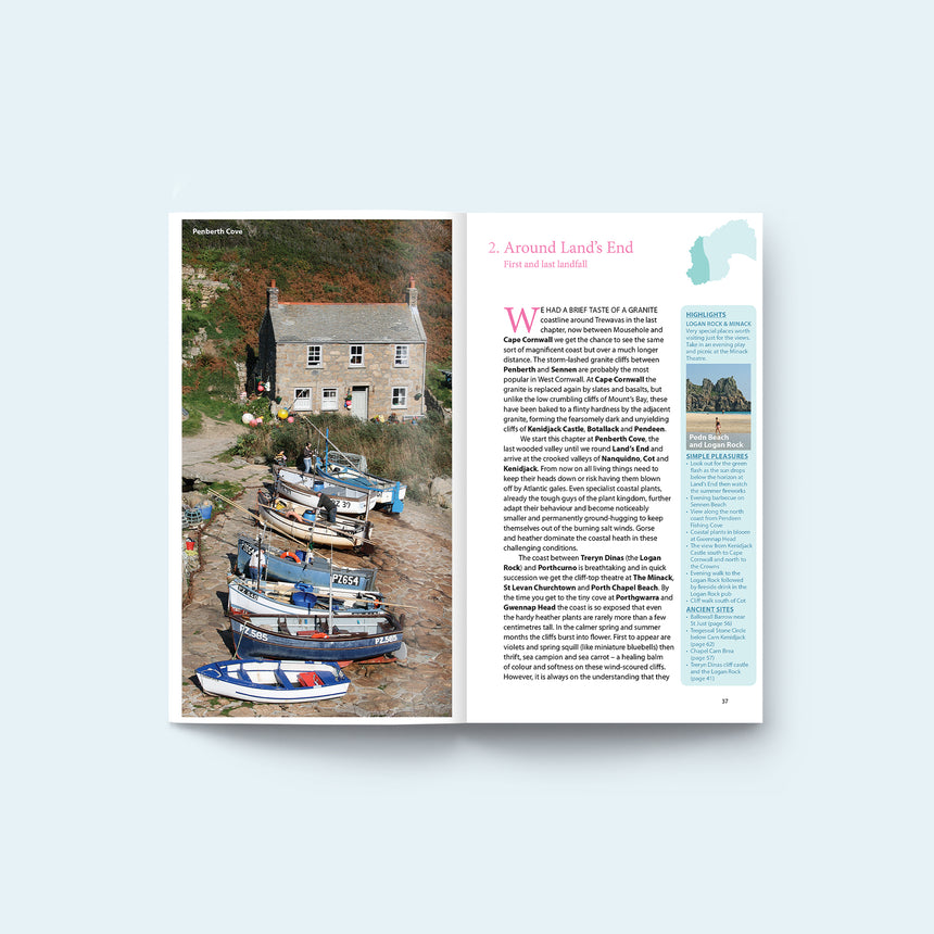 Internal pages of Friendly Guides Land's End Guidebook - photo of Penberth Cove near the Logan Rock
