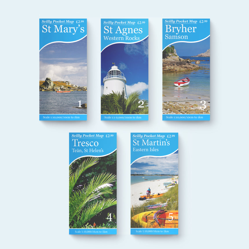 Scilly Pocket Map Collection, all five maps St Mary's, St Agnes, Tresco, Bryher, St Martin's