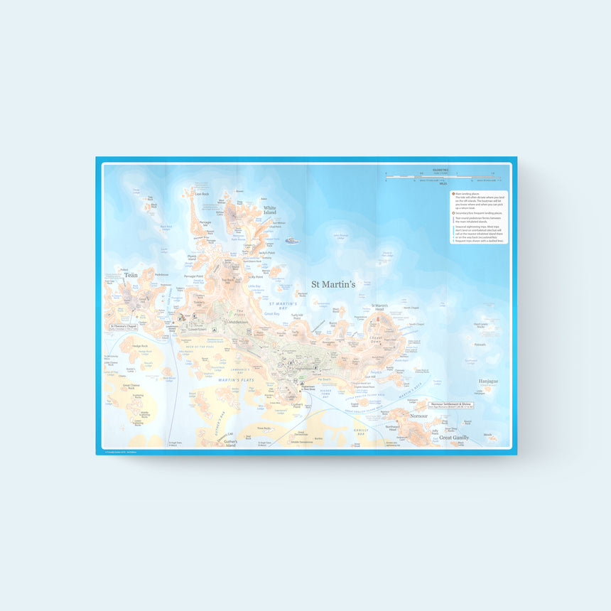 Friendly Guides Scilly Pocket Map 5: St Martin's, map of the island including White Island, Chapel Down and Tean