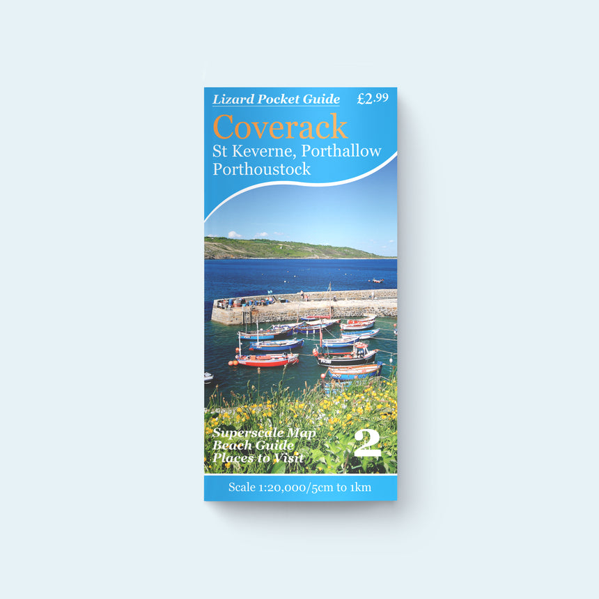 Lizard Pocket Guide 2: Coverack, St Keverne, Porthallow and Porthoustock, cover photo of Coverack Harbour and Lowland Point