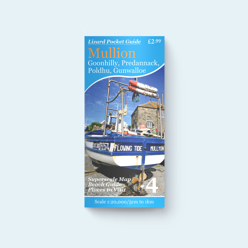 Friendly Guides Lizard Pocket Map and Guide 4: Mullion, Goonhilly, Predannack, Poldhu, Polurrian with cover photo of Mullion Cove