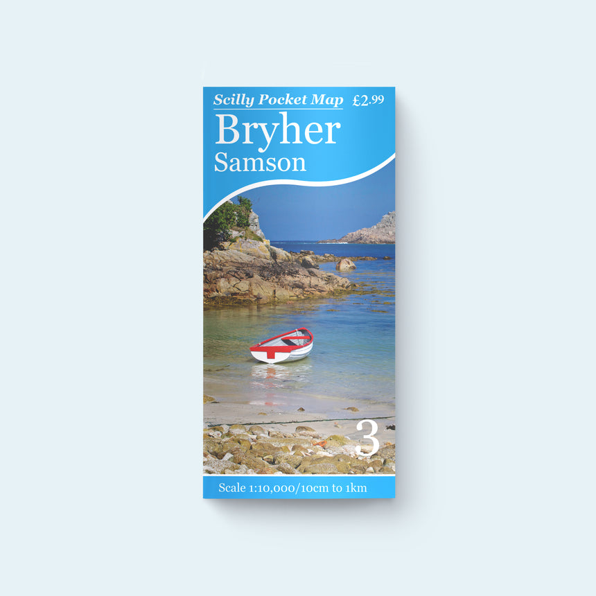 Friendly Guides Scilly Pocket Map 3: Bryher, Samson and the Norrad (Northern Rocks), cover photo of Kitchen Porth