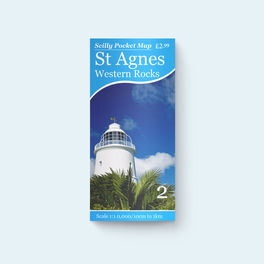 Friendly Guides Scilly Pocket Map 2: St Agnes and the Western Rocks, cover photo of St Agnes Lighthouse