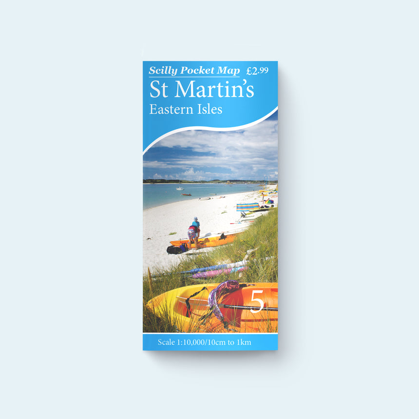 Friendly Guides Scilly Pocket Map 5: St Martin's and the Eastern Isles, cover photo of Middletown (Campsite) Beach