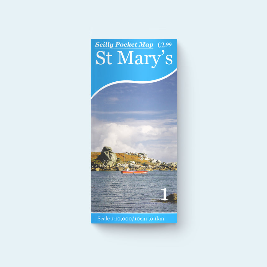 Friendly Guides Scilly Pocket Map 1: St Mary's cover with a photo of the Loaded Camel at Porth Hellick
