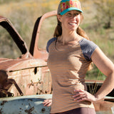 Hemp Momentum Shirt ~ cap sleeve ~ Orange Stripes