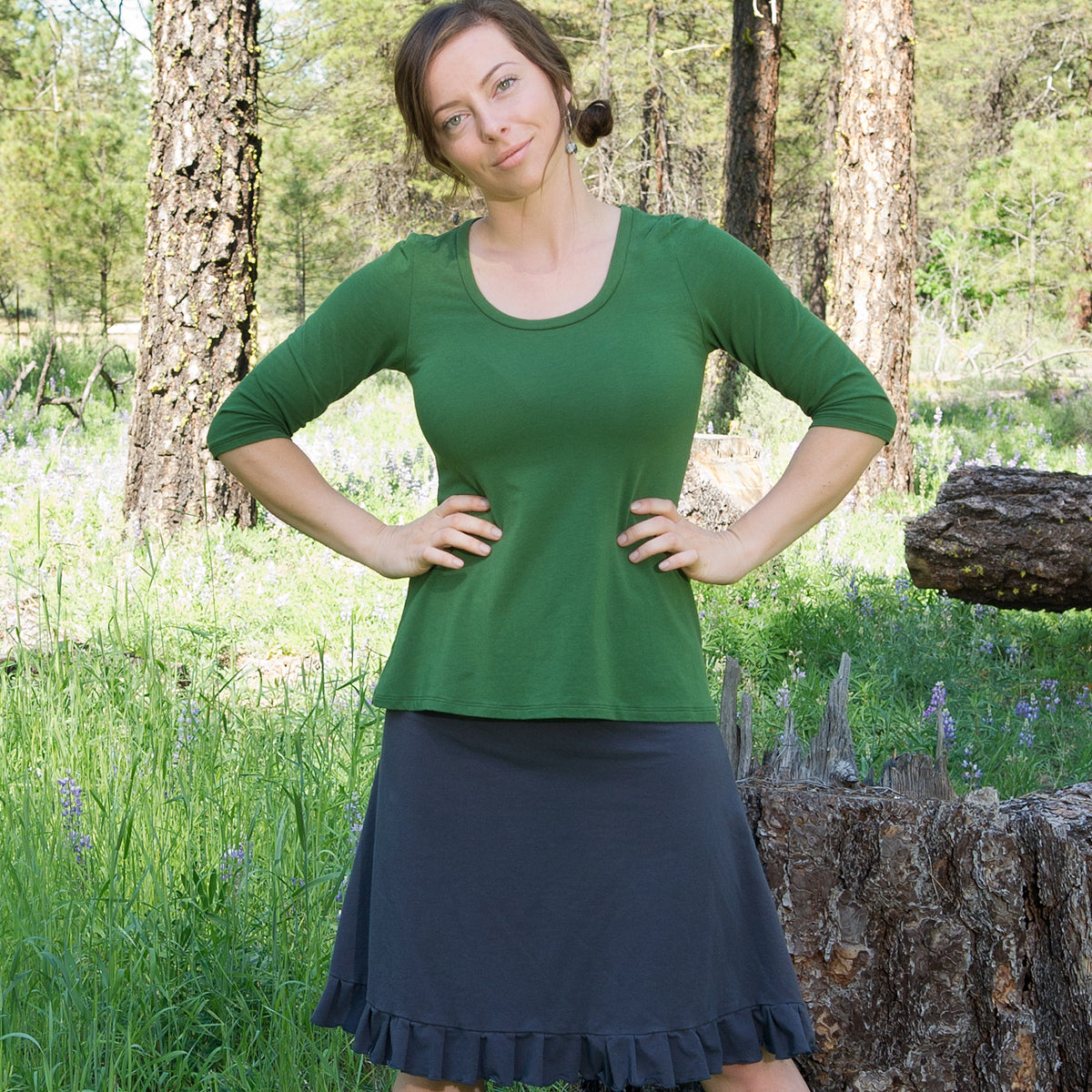 SALE - S - Organic Soy Aster Shirt - elbow length sleeves