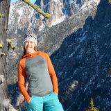 Women's Silver Star Merino Wool Hoodie ~ Rust Orange/Gray