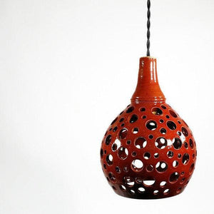 Red Hollie Hand Carved Hanging Pendant Light