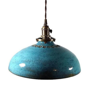 Turquoise Hanging Pendant Lamp with Hand Stamped Swirls