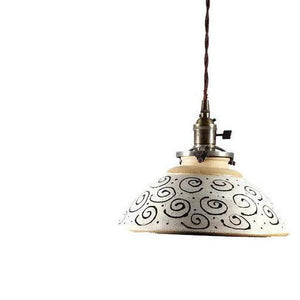 Hanging Pendant Light with Hand Painted Swirls