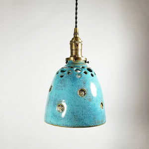 Turquoise Hanging Pendant Lamp with Hand Carved Holes
