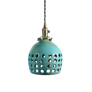 Hand Carved Turquoise Hanging Pendant Lamp