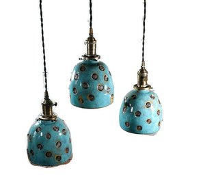 Hanging Pottery Lights with Carved Holes