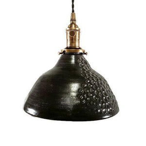 Black Art Deco Hand Textured Hanging Pendant Light