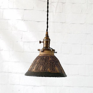 Hand Carved Industrial Style Hanging Ceiling Light