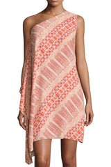 Vince Camuto tribal print one shoulder dress