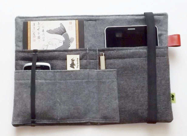 Tablet Cover - Charcoal Wool Gadget Organizer