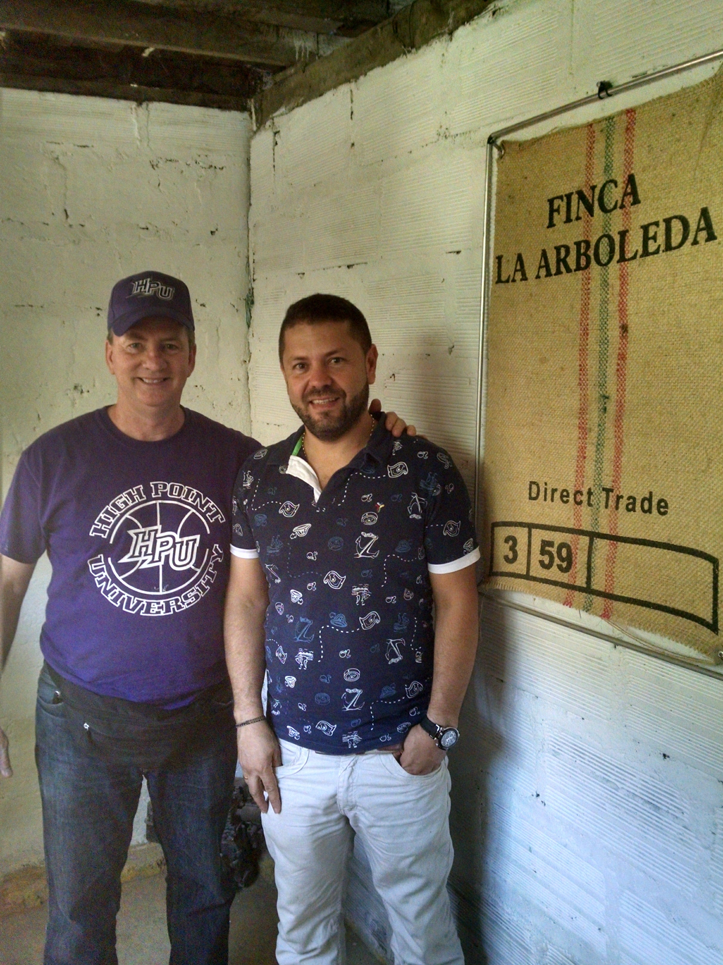FOsterHobbs coffee roaster with coffee farmer Gonzalo Alvarez at his farm La Arboleda colombia