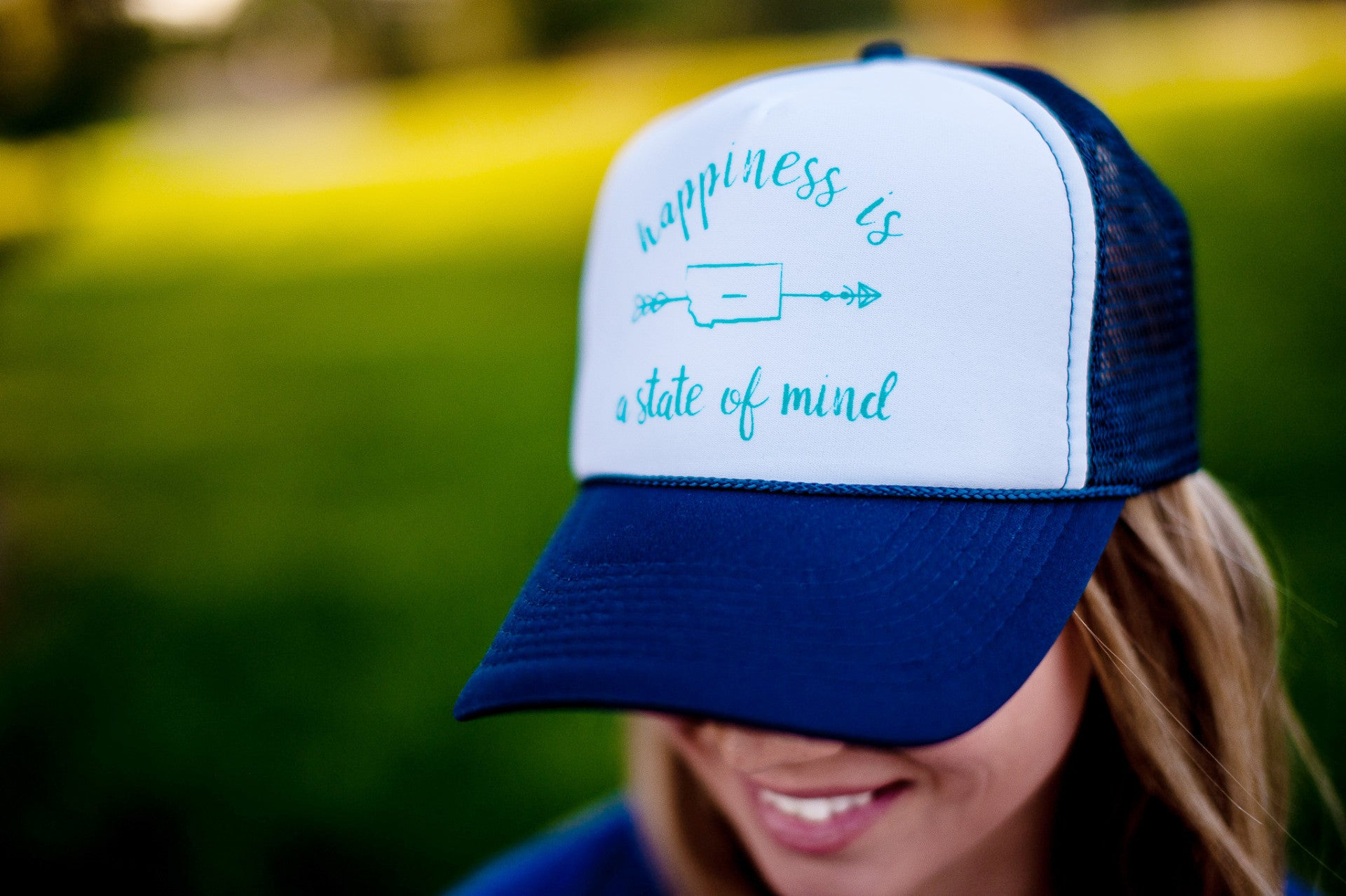 Happiness Foam Trucker Hat in White/Navy