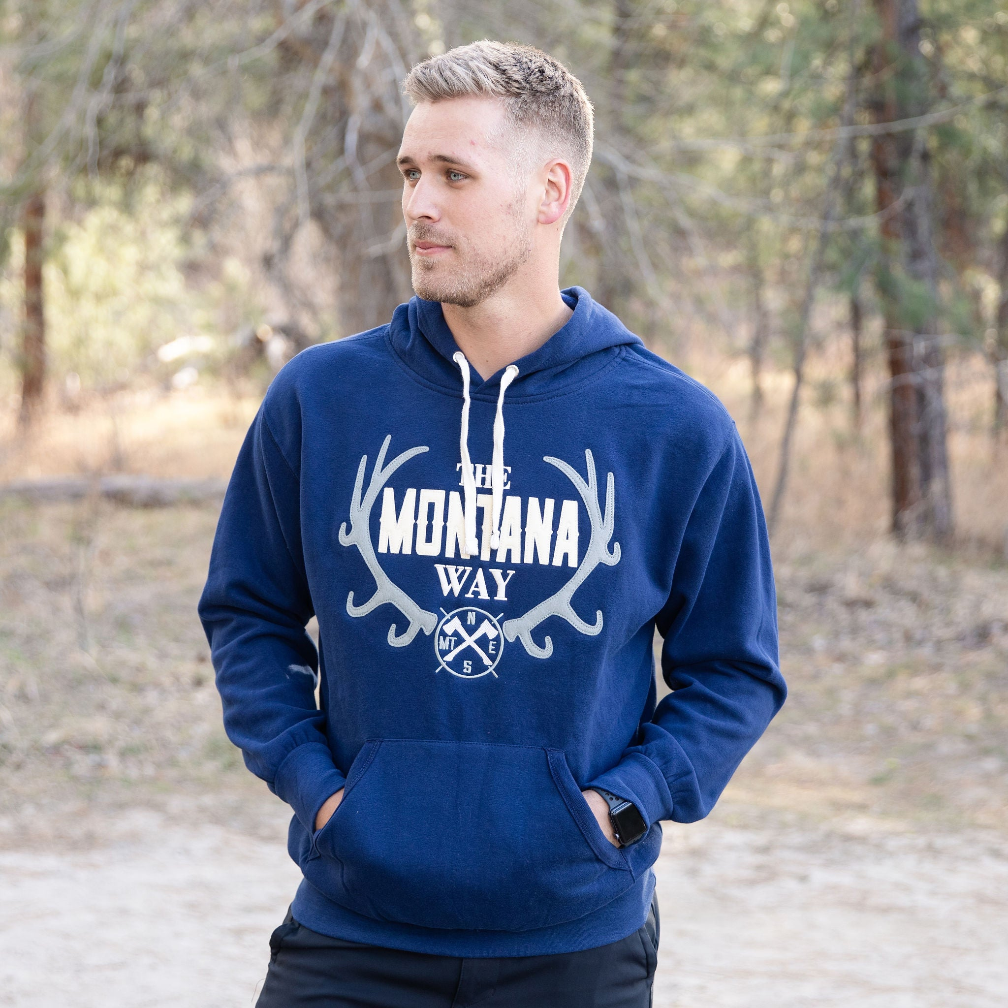 The Logo Applique Hoodie in Navy