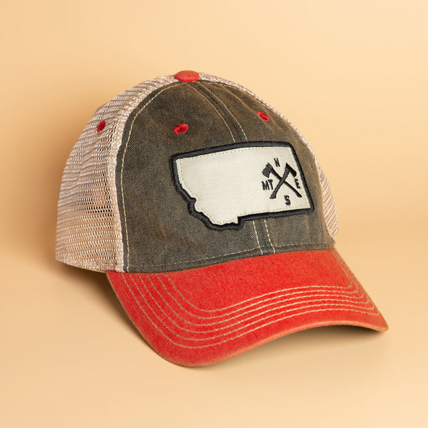 Crossed Axes Trucker in Black/Red/Khaki