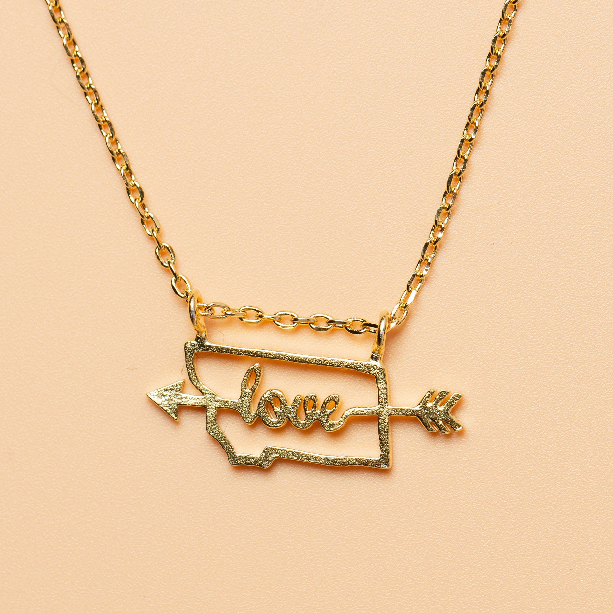 With Montana It Is Love Necklace in Gold