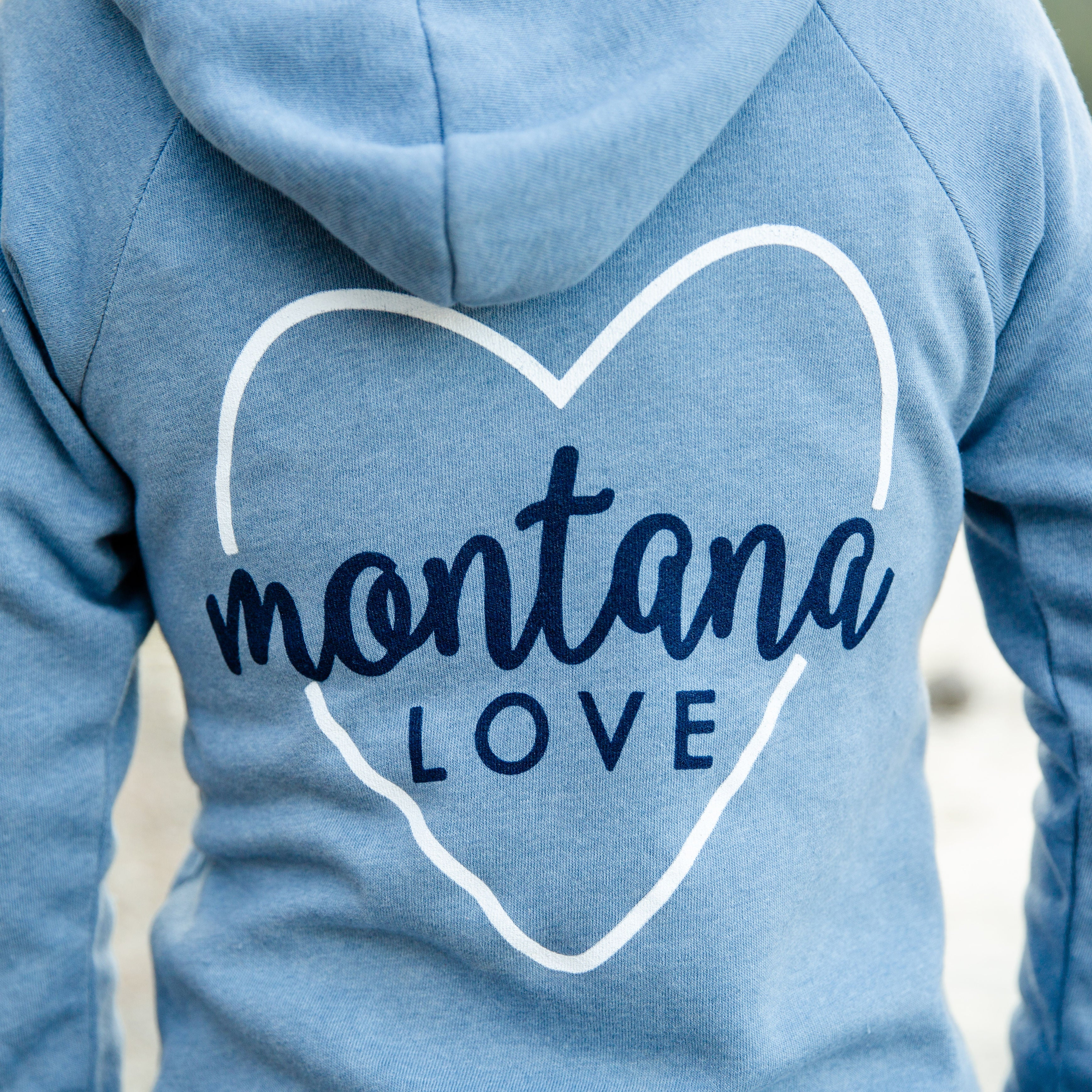 Montana Love Angel Fleece Full Zip Hoodie in Stonewash