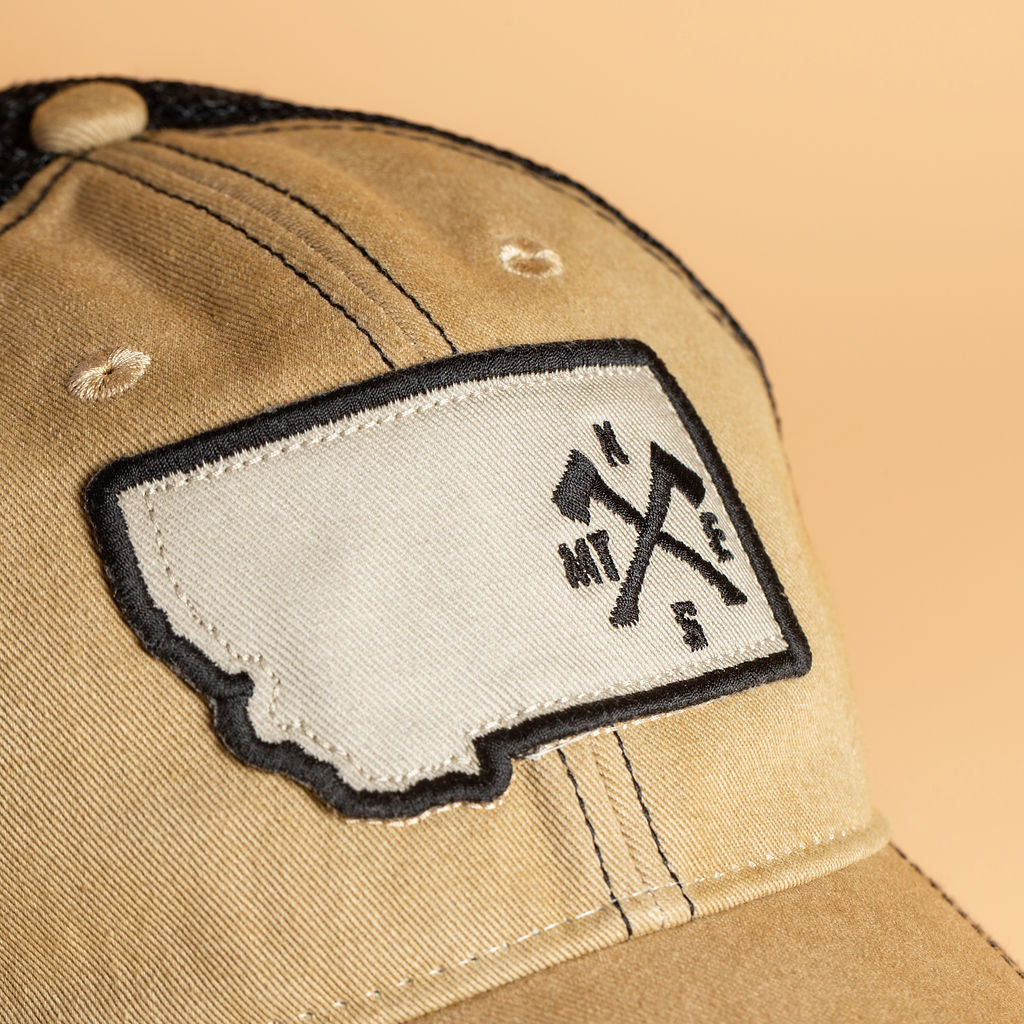 Crossed Axes Trucker in Khaki/Black