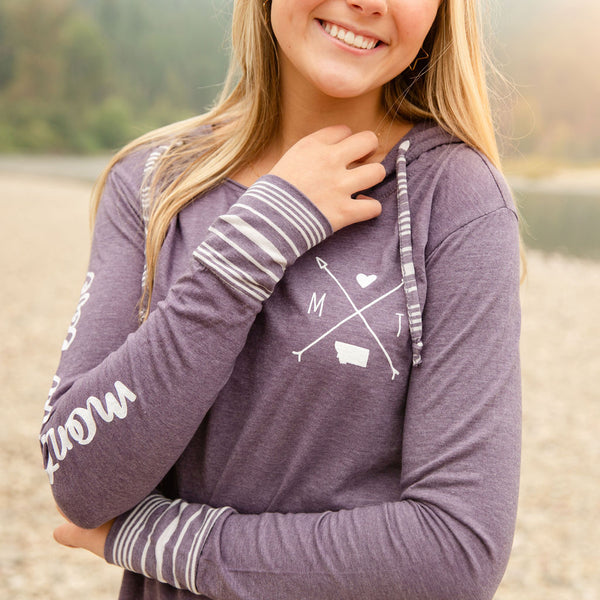 Montana Love Hooded Long Sleeve in Purple