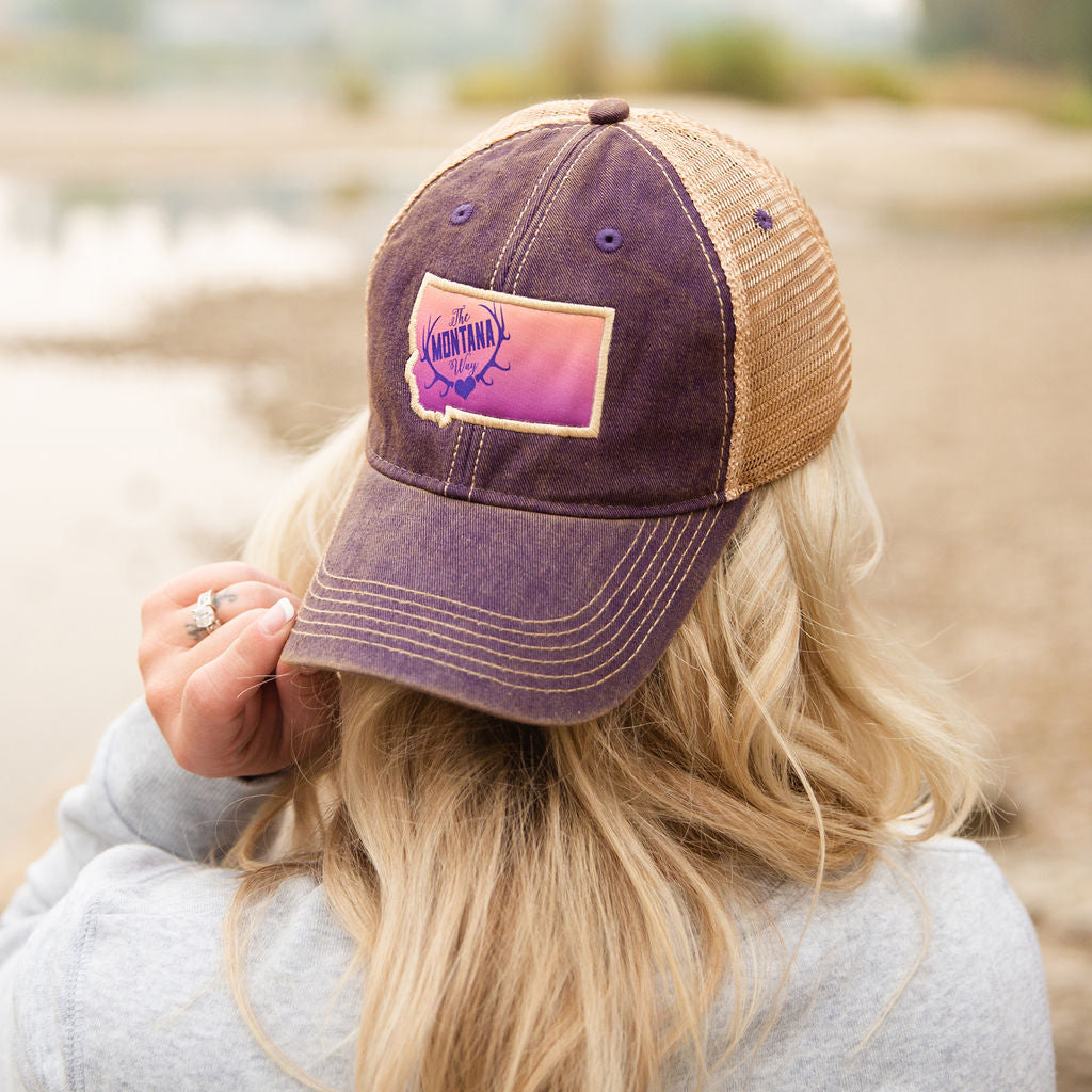 Montana Girl Trucker in Purple/Khaki