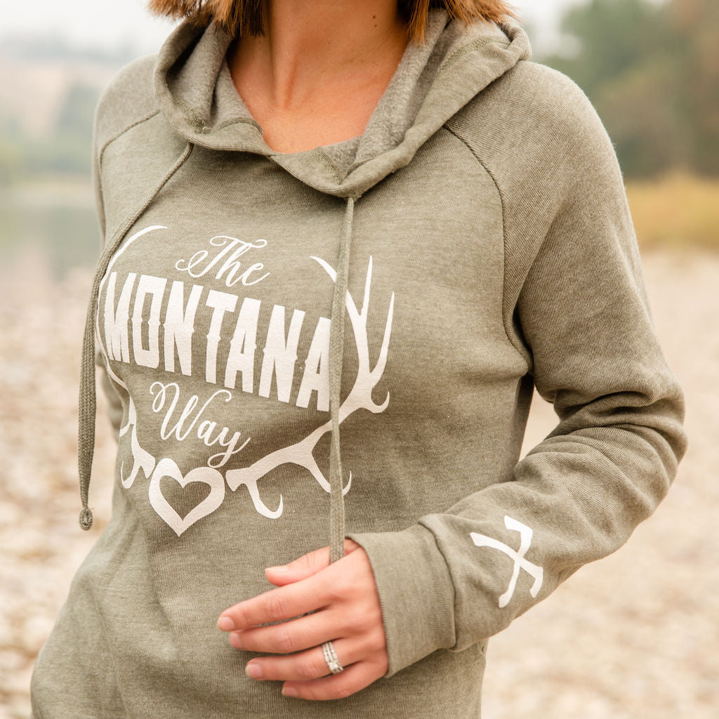 Montana Girl Angel Fleece Hoodie in Olive