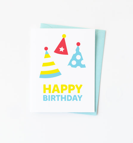 Party Hats Birthday Greeting Card