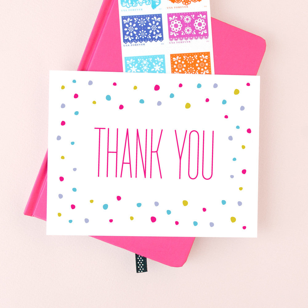 Confetti Thank You greeting card