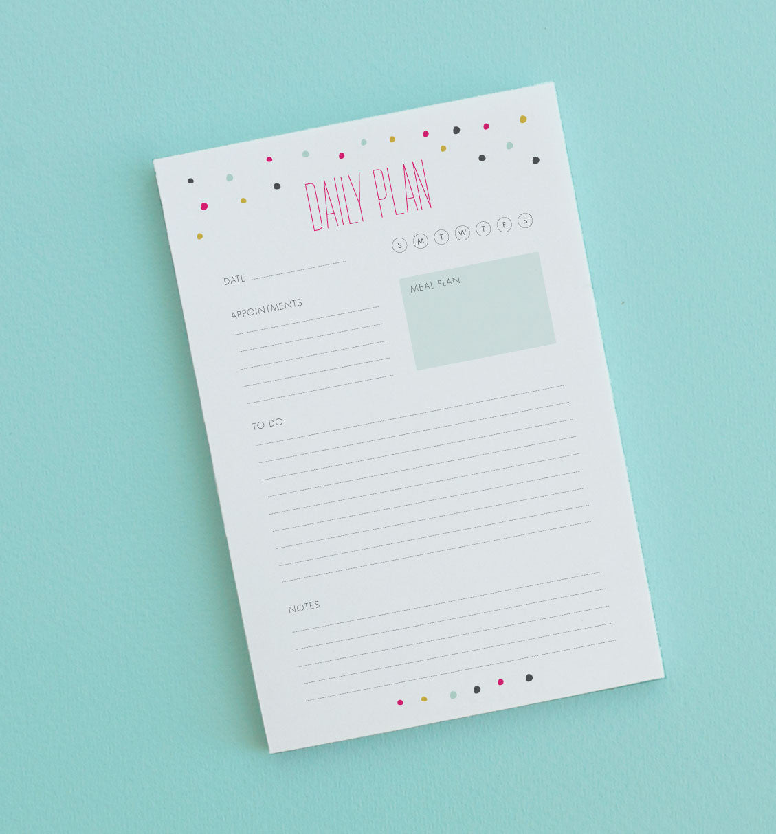 Confetti Daily Plan note pad