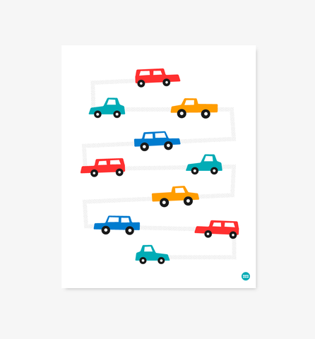Motorway children's car & truck print