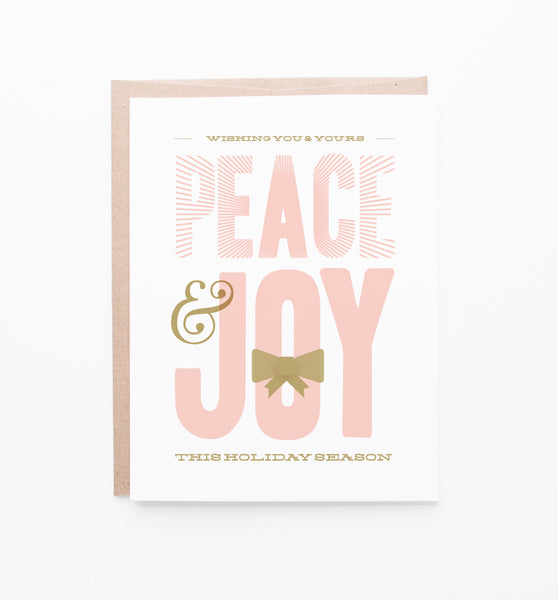 Peace & Joy pink & gold holiday greeting card