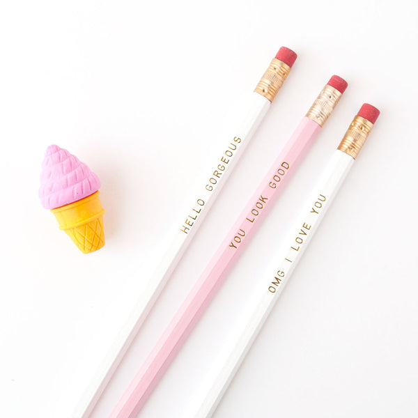 Hello Gorgeous white + gold imprinted pencil set