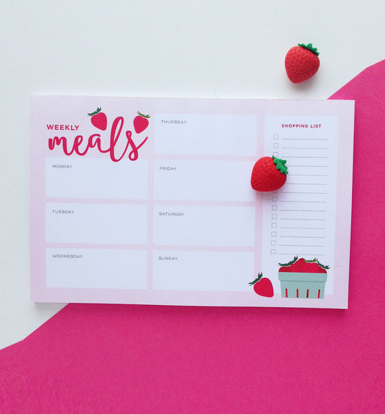 Strawberry Weekly Meal Plan Notepad