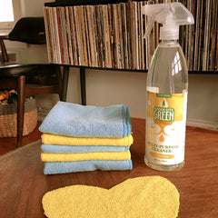 microfiber cleaning cloths with Absolute Green multipurpose spray
