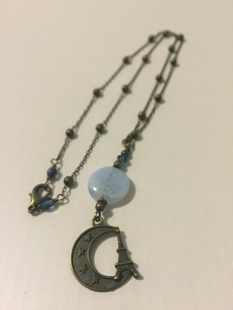 Eiffel Tower & Moon Necklace