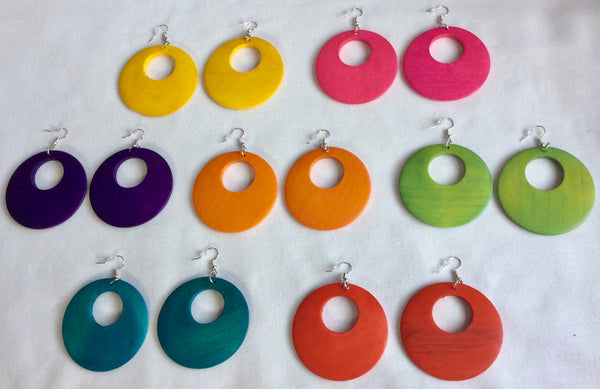 Wooden Circular Cutout Earrings- Design 6