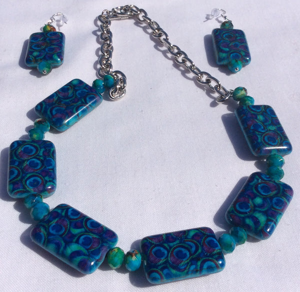Turquoise Semiprecious Stone Blend - Handmade Necklace Set