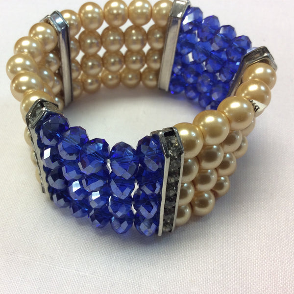 Faux Pearl & Crystal Stretchy Bracelet