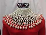 Multi Layered Faux Pearl Bib Necklace