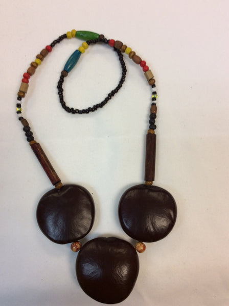NATURAL FIBER ETHNIC NECKLACE